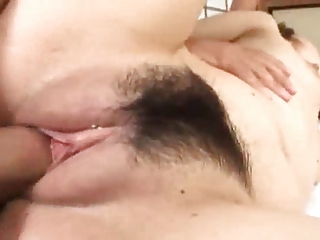 Asian babe get drilled in threesome