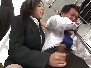 Sexy Japanese Girl makes him to Gush Cum on Subway Train