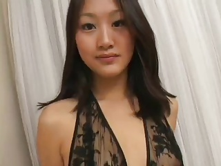 Asian gives blowjob, facial