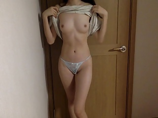 Asian amateur girl shows her nice skinny ass and tits